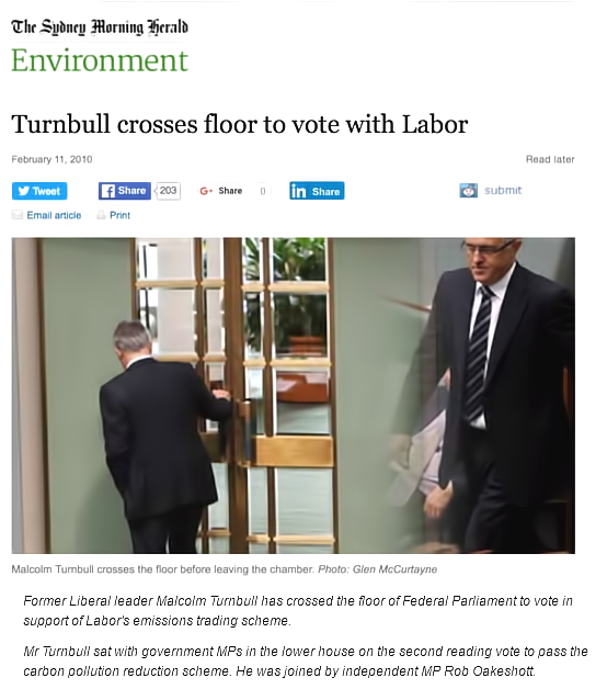 Malcolm Turnbull Votes Against His Own party