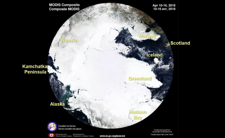 Arctic Sea Ice as at April 2018. Thick and extensive, like global warming alarmists.