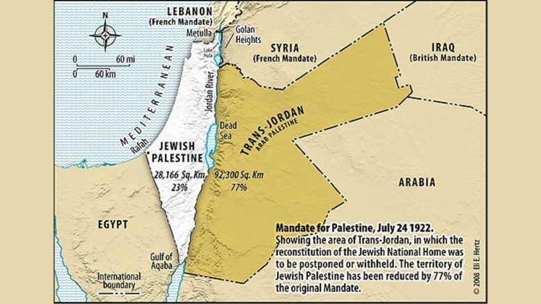 Two thirds of the British Mandate given to create a homeland for the regions Arabs